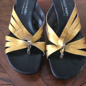 Donald Pliner Gold platform wedge sandals